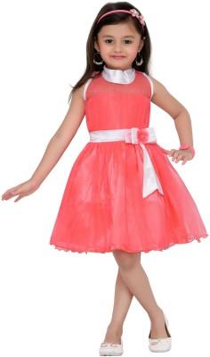 Aarika Girls Mini/Short Party Dress(Pink, Sleeveless)