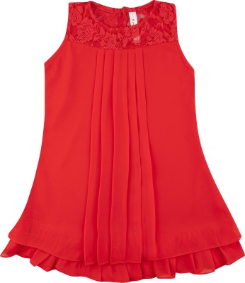 Hunny Bunny Girls Mini/Short Casual Dress(Orange, Sleeveless)
