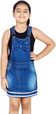 Naughty Ninos Dungaree For Girls Solid Denim(Blue) at flipkart