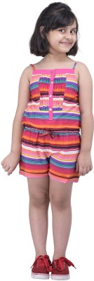 Oxolloxo Dungaree For Girls Striped Polycotton(Multicolor, Pack of 1) at flipkart