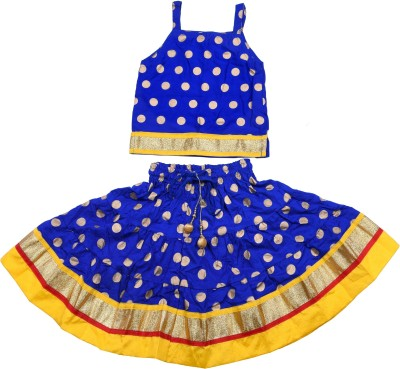 Magnus Girls Top and Skirt Set(Blue Pack of 1) at flipkart