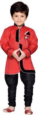 AJ Dezines Boys Festive & Party sherwani and Churidar Set(Red Pack of 1)  available at flipkart for Rs.2999