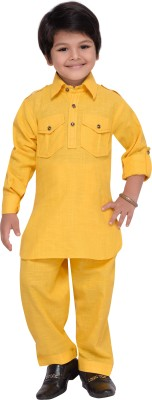 AJ Dezines Boys Festive & Party Pathani Suit Set(Yellow Pack of 1)