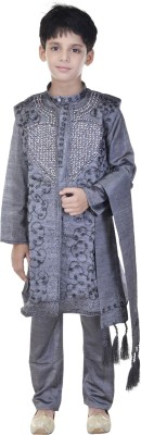 Soundarya Boys sherwani and Churidar Set(Grey Pack of 1)  available at flipkart for Rs.1199