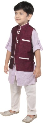 Yuvraaj Boys Kurta, Waistcoat and Pyjama Set(Blue Pack of 1)