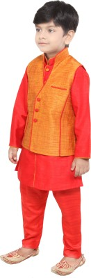 Yuvraaj Boys Kurta, Waistcoat and Pyjama Set(Red Pack of 1)