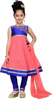Aarika Girls Kurta, Churidar & Dupatta Set(Pink Pack of 1)