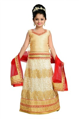 Aarika Girls Lehenga Choli Ethnic Wear Self Design Lehenga, Choli and Dupatta Set(Gold, Pack of 1)