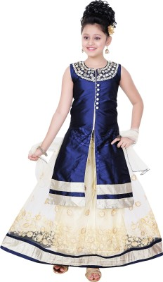 Saarah Girls Lehenga Choli Ethnic Wear Embellished Lehenga, Choli and Dupatta Set(Brown, Pack of 1) at flipkart