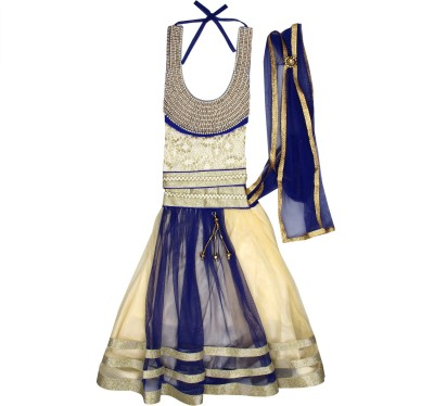 Arshia Fashions Girls Lehenga Choli Fusion Wear, Ethnic Wear Embroidered Lehenga Choli(Blue, Pack of 1) at flipkart