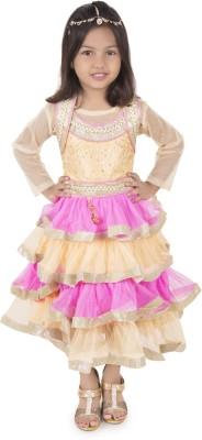 Addyvero Girls Lehenga Choli Ethnic Wear Embroidered, Self Design Lehenga, Choli and Dupatta Set(Pink, Pack of 1)