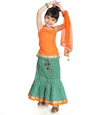 Little Pockets Store Girls Lehenga Choli Ethnic Wear Printed Lehenga, Choli and Dupatta Set(Multicolor, Pack of 1) at flipkart