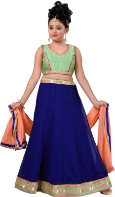Aarika Girls Lehenga Choli Ethnic Wear Solid Lehenga, Choli and Dupatta Set(Green, Pack of 1)