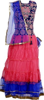 Crazeis Girls Lehenga Choli Ethnic Wear Embroidered Lehenga, Choli and Dupatta Set(Multicolor, Pack of 1) at flipkart