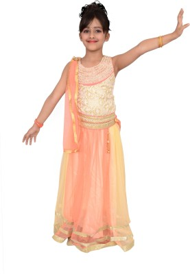 Arshia Fashions Girls Lehenga Choli Fusion Wear, Ethnic Wear Embroidered Lehenga Choli(Orange, Pack of 1) at flipkart