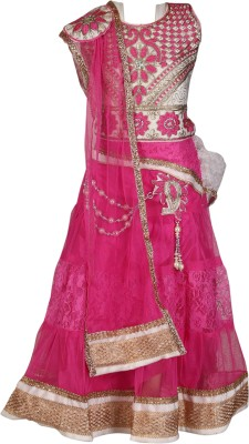 Crazeis Girls Lehenga Choli Western Wear Embroidered Lehenga Choli(Pink, Pack of 1)
