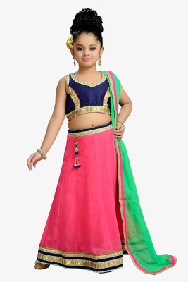 Aarika Girls Lehenga Choli Ethnic Wear Self Design Lehenga, Choli and Dupatta Set(Pink, Pack of 1)