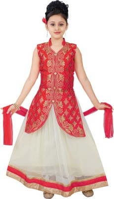 Saarah Girls Lehenga Choli Ethnic Wear Self Design Lehenga, Choli and Dupatta Set(Red, Pack of 1) at flipkart