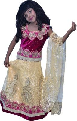 Kid's Stop Girls Lehenga Choli Ethnic Wear Embroidered Lehenga, Choli and Dupatta Set(Multicolor, Pack of 1)