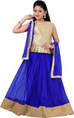 Aarika Girls Lehenga Choli Ethnic Wear Self Design Lehenga, Choli and Dupatta Set(Blue, Pack of 1) at flipkart