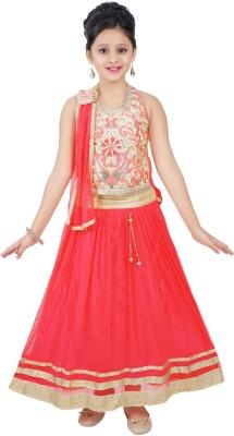 Haazra Girls Lehenga Choli Ethnic Wear Self Design Lehenga, Choli and Dupatta Set(Red, Pack of 1)