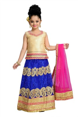 Aarika Girls Lehenga Choli Ethnic Wear Self Design Lehenga, Choli and Dupatta Set(Blue, Pack of 1)