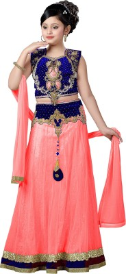 Aarika Girls Lehenga Choli Ethnic Wear Embroidered Lehenga, Choli and Dupatta Set(Blue, Pack of 1)