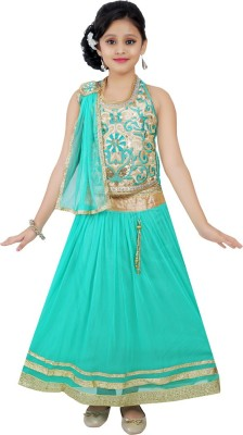 Haazra Girls Lehenga Choli Ethnic Wear Self Design Lehenga, Choli and Dupatta Set(Green, Pack of 1)