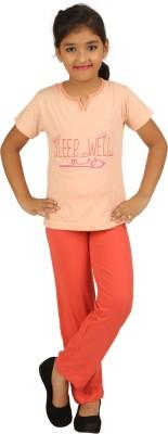 Sand Beach Kids Nightwear Girls Printed Cotton(Multicolor Pack of 1)