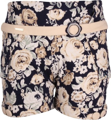 Cutecumber Short For Girls Party Floral Print Cotton Blend(Multicolor, Pack of 1) at flipkart