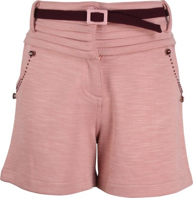 Cutecumber Short For Girls Party Embellished, Solid Polycotton(Pink, Pack of 1) at flipkart