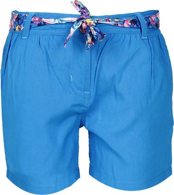 UFO Short For Girls Casual Solid Cotton Rayon Blend(Blue, Pack of 1) at flipkart