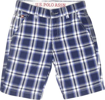 Us Polo Kids Short For Boys Casual Checkered Cotton