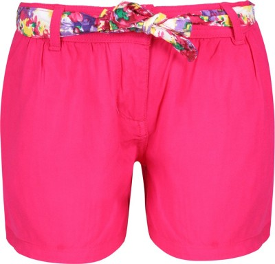 UFO Short For Girls Casual Solid Cotton Rayon Blend(Pink, Pack of 1) at flipkart