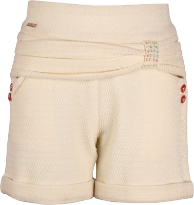 Cutecumber Short For Girls Party Embellished, Solid Polycotton(White, Pack of 1) at flipkart