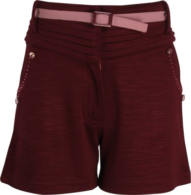 Cutecumber Short For Girls Party Embellished, Solid Polycotton(Maroon, Pack of 1) at flipkart