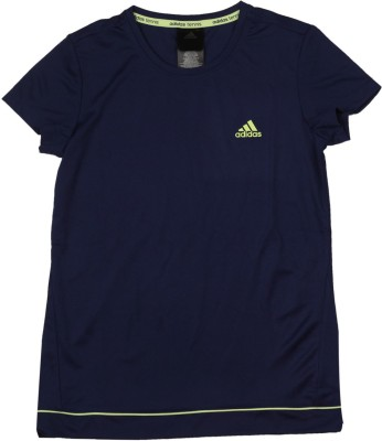 ADIDAS Girls Solid Polyester T Shirt(Dark Blue, Pack of 1)