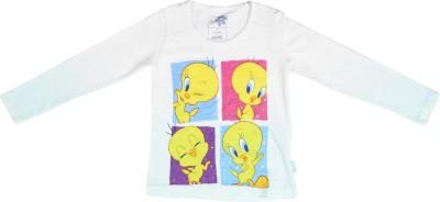Tweety Girls Printed Cotton T Shirt(White, Pack of 1) at flipkart