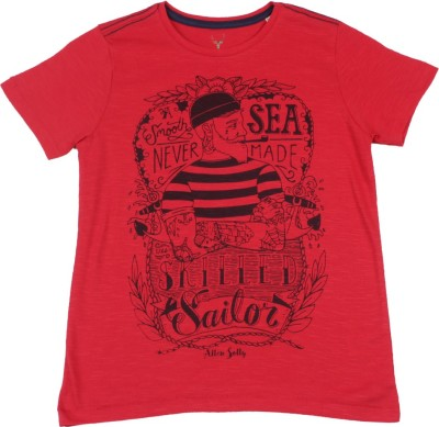 Allen Solly Junior Boys Printed Cotton T Shirt(White, Pack of 1)
