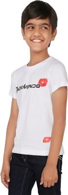 Taekwondo Plus Boys Printed Cotton T Shirt(White, Pack of 1)