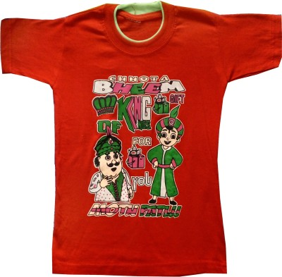 Kraft10 Boys Printed Cotton T Shirt(Red, Pack of 1)