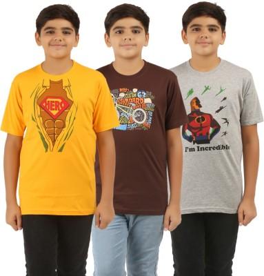 UV2 Boys Printed Cotton T Shirt(Yellow, Pack of 3) Flipkart