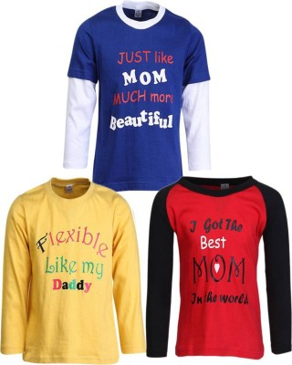 Gkidz Boys Printed Cotton T Shirt(Multicolor, Pack of 3)