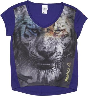 REEBOK Girls Printed Polyester T Shirt(Purple, Pack of 1)