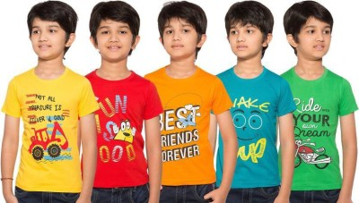 OER Boys Printed Cotton T Shirt(Multicolor, Pack of 5)