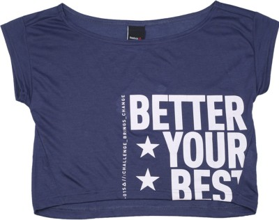 REEBOK Girls Printed Polyester Viscose Blend T Shirt(Blue, Pack of 1)