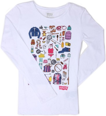 Levi's Girls Graphic Print Cotton T Shirt(White, Pack of 1)  available at flipkart for Rs.299