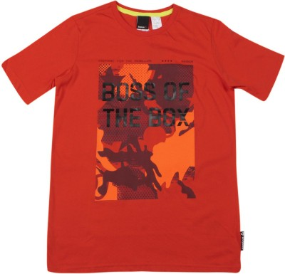 REEBOK Boys Printed Cotton T Shirt(Red, Pack of 1)