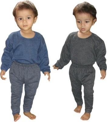 Kifayati Bazar Top - Pyjama Set For Boys & Girls(Grey, Pack of 2)