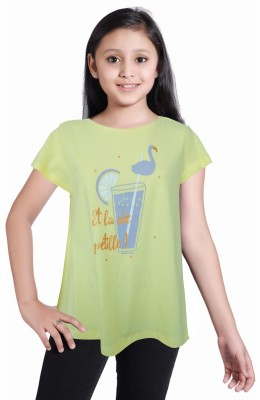 Girl Confidential Girls Casual Cotton Tunic Top(Yellow, Pack of 1)  available at flipkart for Rs.250